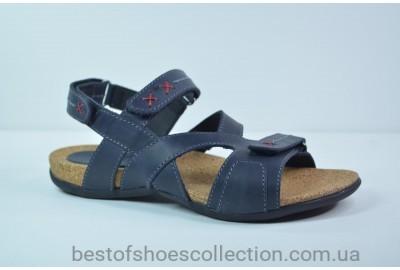 Подростковые и женские кожаные сандалии синие Step Wey 7651