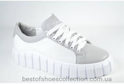 Женские стильные кожаные туфли кеды белые с серым Road Style 038.16/3