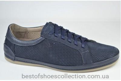 Мужские летние туфли мокасины нубуковые синие Shark 549