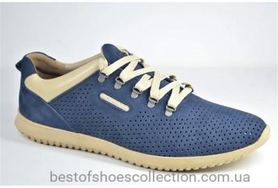 Мужские летние кроссовки нубуковые синие Clubshoes К 1 F