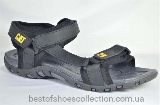 Мужские кожаные сандалии черные CAT 10 - 01