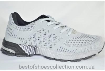 Мужские модные кроссовки сетка светло серые Classica 1060 - 1