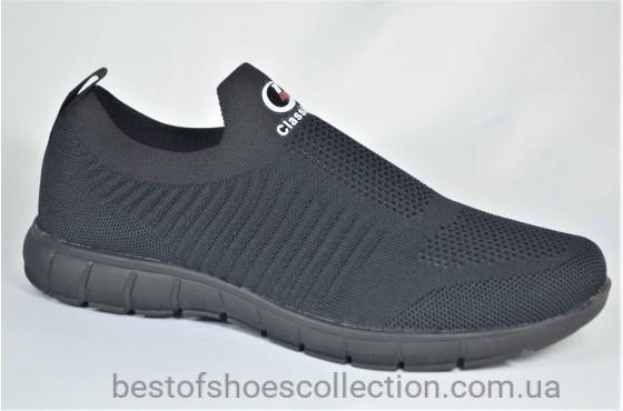 Мужские кроссовки сетка черные Classica 1069 - 6