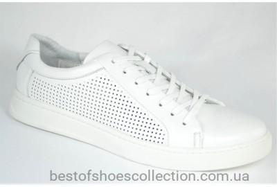 Мужские летние спортивные туфли кожаные кеды белые Cevivo 5205/2