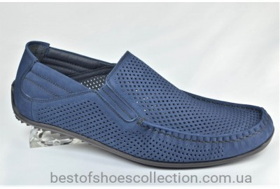 Мужские летние туфли мокасины нубуковые синие Cevivo 4255