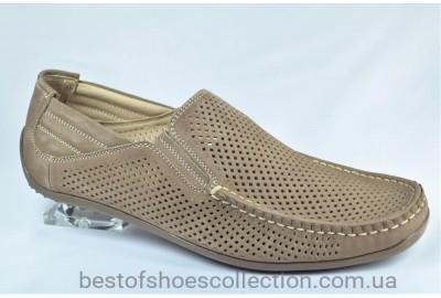 Мужские летние туфли мокасины нубуковые цвета латте Cevivo 4255