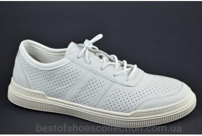 Мужские летние спортивные туфли кожаные кеды белые Rondo 186