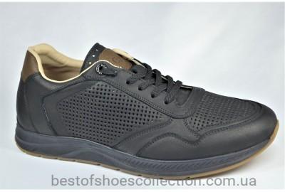 Мужские летние кожаные кроссовки перфорация черные Cevivo 5255