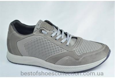 Мужские летние кожаные кроссовки перфорация серые Cevivo 5255