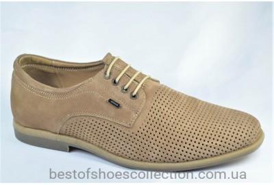Мужские летние нубуковые туфли бежевые Cevivo 4715