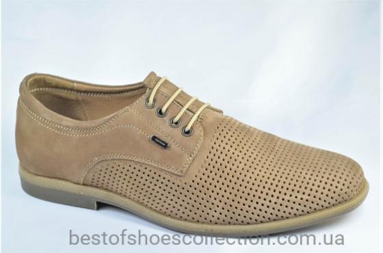 Мужские нубуковые туфли бежевые Cevivo 4715