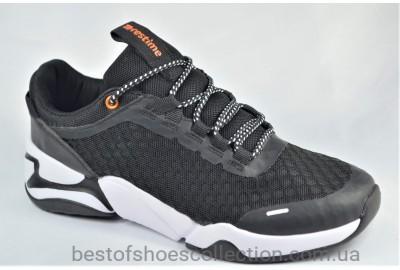 Подростковые и женские летние кроссовки сетка черные с белым Restime 21812