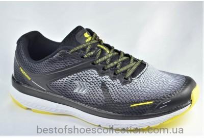 Мужские кроссовки сетка черные с серым и желтым Restime 20224