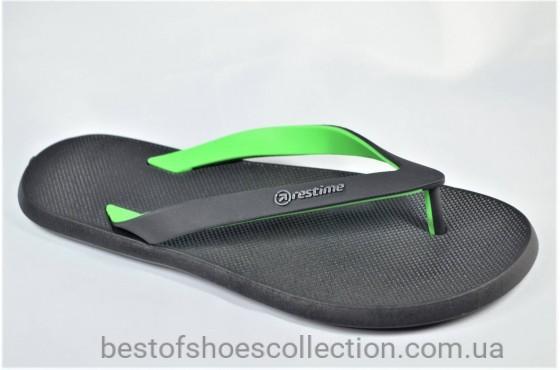 Мужские вьетнамки черные с зеленым Restime 20621 - 1