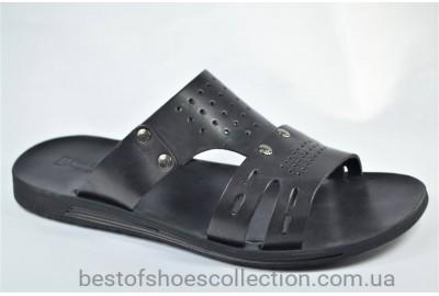Мужские кожаные шлепанцы черные Bonis 566935