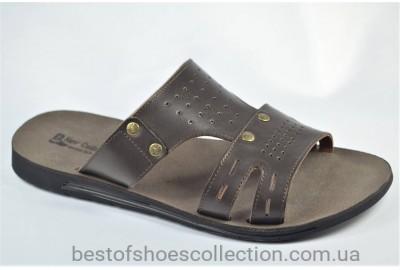 Мужские кожаные шлепанцы коричневые Bonis 566935