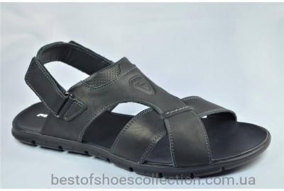 Мужские кожаные сандалии великаны черные Maxus 55