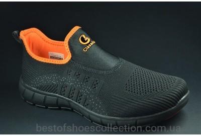 Женские и подростковые летние кроссовки сетка черные с оранжевым Classica 2072 - 5
