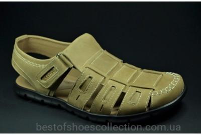Мужские комфортные кожаные сандалии оливковые Cevivo 523