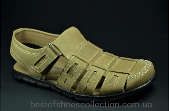 Мужские кожаные сандалии оливковые Cevivo 523