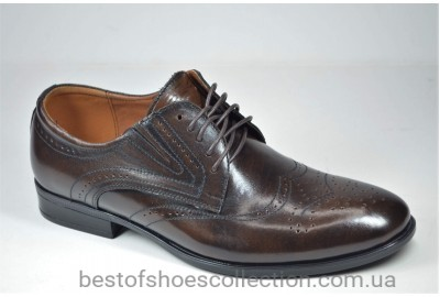 Мужские кожаные туфли полуброги коричневые Nord But 679