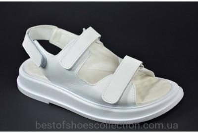 Женские кожаные босоножки белые Best Vak 1054 - 06