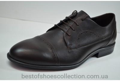 Мужские кожаные туфли полуброги коричневые IKOC 3389 - 5
