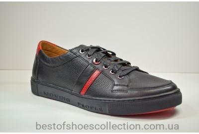 Мужские спортивные туфли кожаные кеды черные Rondo 51/0025