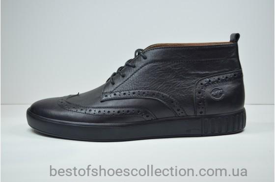 Мужские кожаные кеды броги черные высокие Safari 17101
