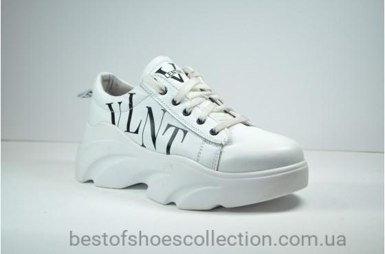Женские кроссовки белые кожаные Valentino КЖ 40 - 06
