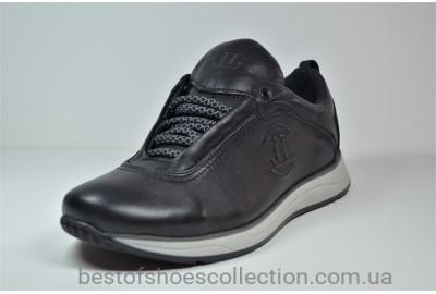 Мужские кожаные кроссовки черные с серым Level 55610