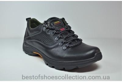 Мужские демисезонные кожаные кроссовки черные Ferum T-17