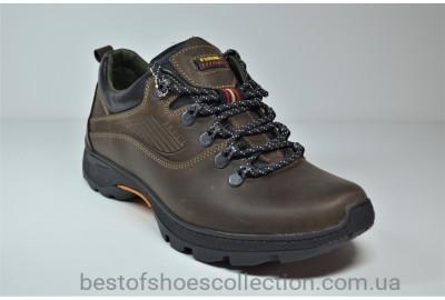 Мужские демисезонные кожаные кроссовки коричневые Ferum T-17