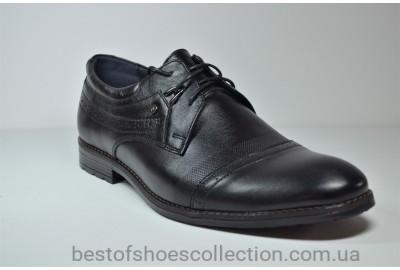 Мужские кожаные туфли великаны черные Vivaro 785