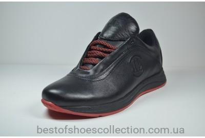 Мужские кожаные кроссовки черные с красным Level 55610