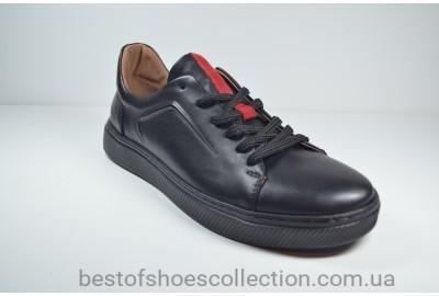 Мужские кожаные кеды черные Safari 45101 - 1