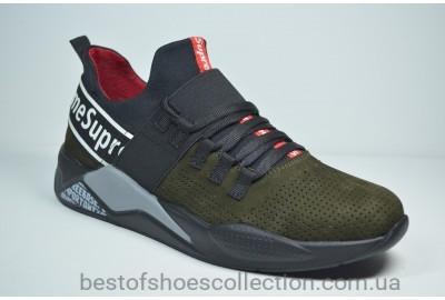 Мужские модные кроссовки нубуковые цвета хаки Supre 230