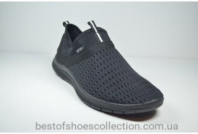 Мужские кроссовки сетка летние черные Sport (1003-3)
