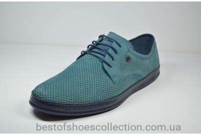 Мужские летние кожаные нубуковые туфли бирюзовые KaDar 2758116