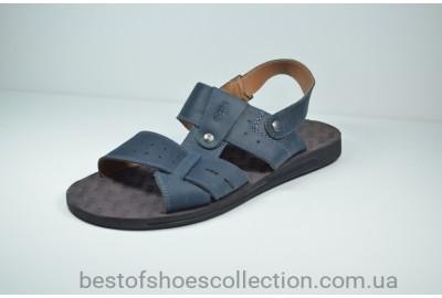 Мужские кожаные сандалии синие Bonis 110