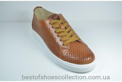 Мужские спортивные туфли кожаные кеды летние рыжие Lucky Choice 615.28.127