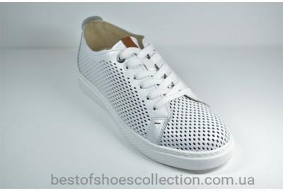 Мужские спортивные туфли кожаные кеды летние белые Lucky Choice 600.22.127