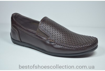 Мужские кожаные туфли мокасины коричневые Belvas 2010/03