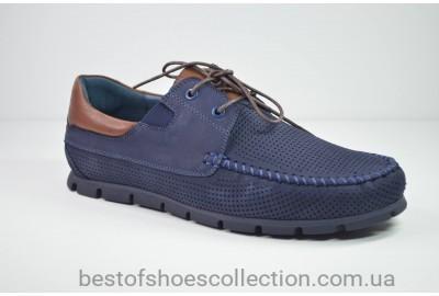 Мужские мокасины нубуковые синие KaDar 2796427