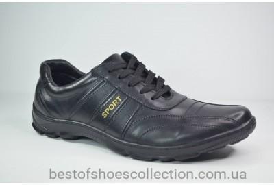 Мужские кожаные кроссовки черные Sport 03