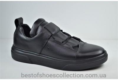 Мужские кожаные кеды черные eD-Ge 777
