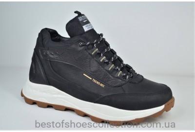 Мужские демисезонные кожаные кроссовки черные с белым Splinter 0520