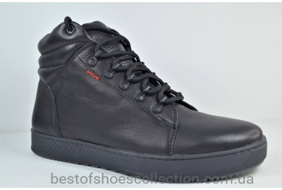 Мужские демисезонные кожаные ботинки кеды черные Step Wey 7260 Т