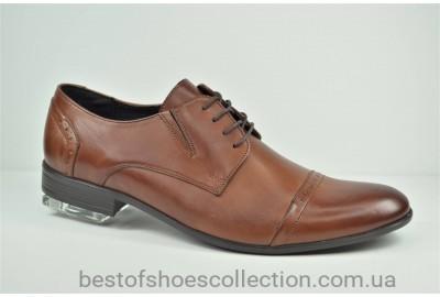 Мужские кожаные туфли полуброги рыжие Tapi 6352