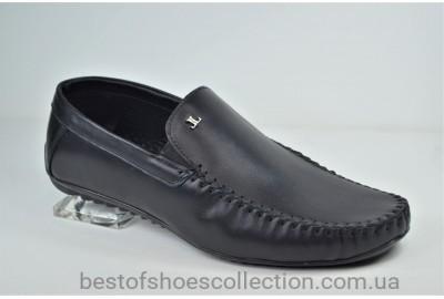 Мужские кожаные мокасины черные Level 54210